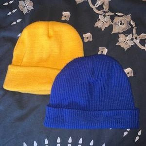 Two Beanies from F21 - Blue and yellow